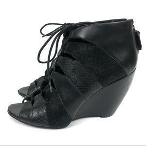 Kenneth Cole Calf Hair Lace Up Open Wedges Booties